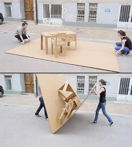 Cardboard Furniture Unfolds Like a Pop-Up Book